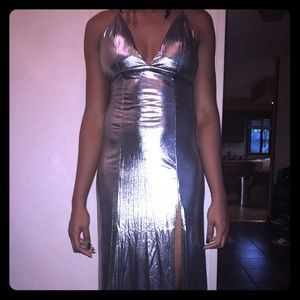 Sexy silver strappy gown with a slit